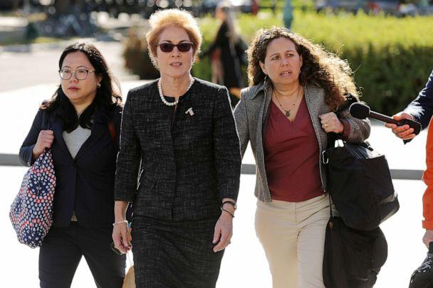 PHOTO: Former U.S. Ambassador to Ukraine Marie Yovanovitch, accompanied by lawyers, aides and journalists, arrives at the U.S. Capitol, Oct. 11, 2019, in Washington. (Chip Somodevilla/Getty Images, FILE)