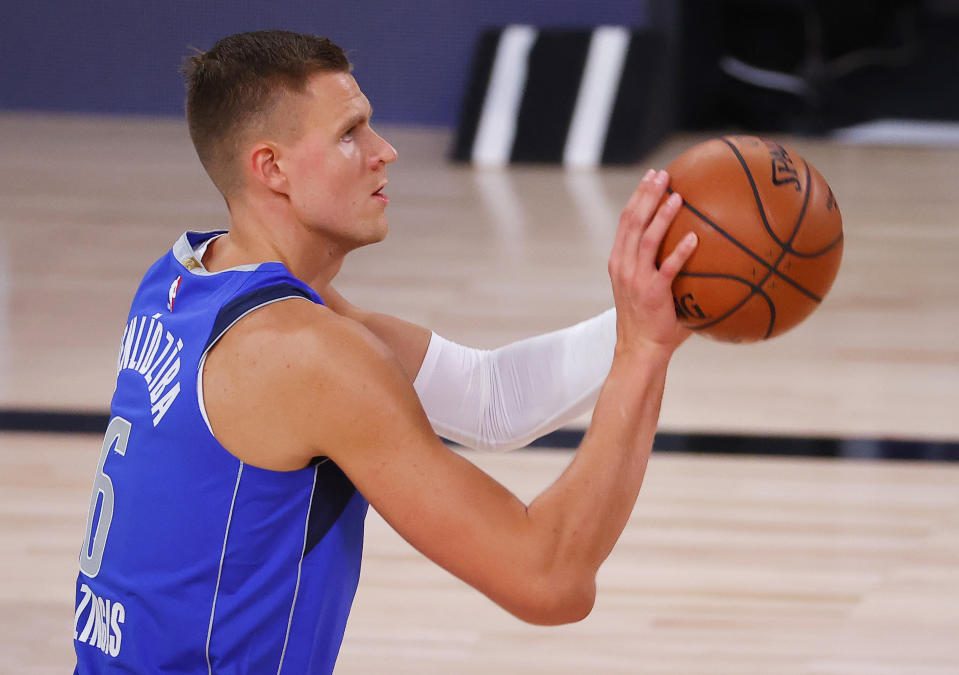 Kristaps Porzingis of the Dallas Mavericks