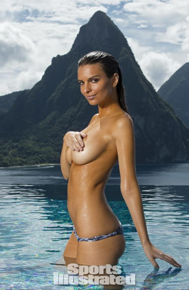 <p>Emily Ratajkowski was photographed by Walter Iooss Jr. at Caille Blanc Villa, in Soufriere, St. Lucia. Swimsuit by MIKOH.</p>