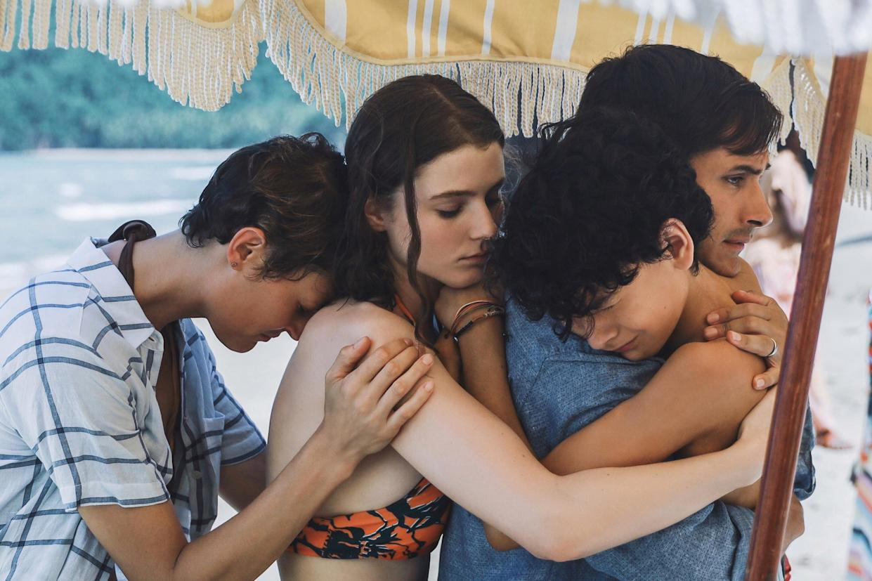 (from left) Prisca (Vicky Krieps), Maddox (Thomasin McKenzie), Guy (Gael García Bernal) and Trent (Luca Faustino Rodriguez) in Old, written and directed by M. Night Shyamalan.