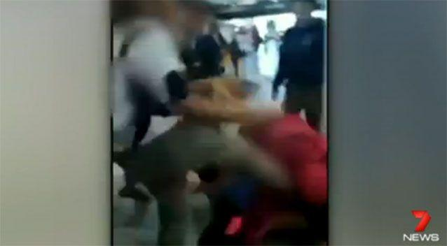 Soon after recording starts, a group of girls jump into add further blows to the 13-year-old girl. Photo: 7 News