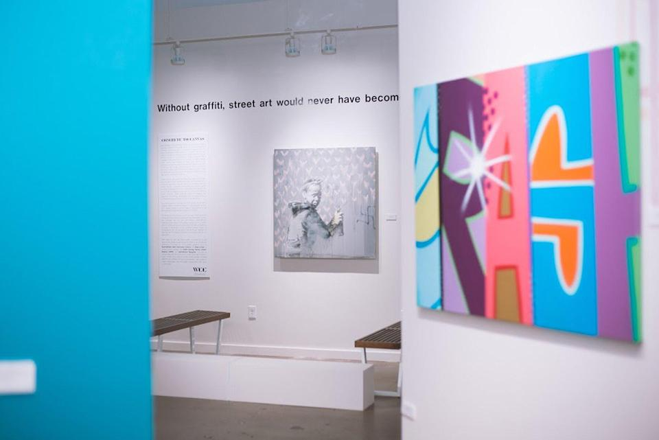Exhibit view of graffiti art at West Chelsea Contemporary in Austin, Tx
