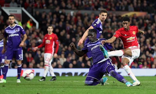 """<span class=""""element-image__caption"""">Marcus Rashford strikes to secure a precious extra-time winner for Manchester United in their Europa League quarter-final tie against Anderlecht at Old Trafford.</span> <span class=""""element-image__credit"""">Photograph: Martin Rickett/PA</span>"""