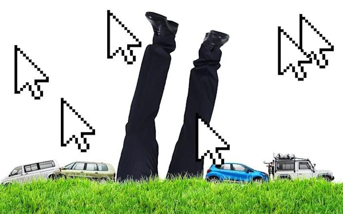 Upside down car salesman in ground, cursors and clicks - The Telegraph