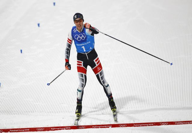 Nordic Combined Events - Pyeongchang 2018 Winter Olympics - Men's Team 4 x 5 km Final - Alpensia Cross-Country Skiing Centre - Pyeongchang, South Korea - February 22, 2018 - Mario Seidl of Austria reacts as he crosses the finish line. REUTERS/Dominic Ebenbichler