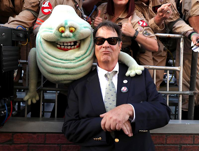 "Dan Aykroyd is seen at the Los Angeles Premiere of Columbia Pictures' ""Ghostbusters"" at TCL Chinese Theatre on Saturday, July 9, 2016, in Los Angeles. (Photo by Eric Charbonneau/Invision for Sony/AP Images)"