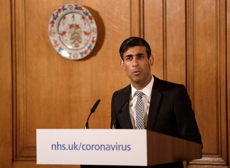 Britain's Chancellor of the Exchequer Rishi Sunak speaks during a news conference on the ongoing situation with the coronavirus disease (COVID-19) in London, Britain March 17, 2020. Matt Dunham/Pool via REUTERS