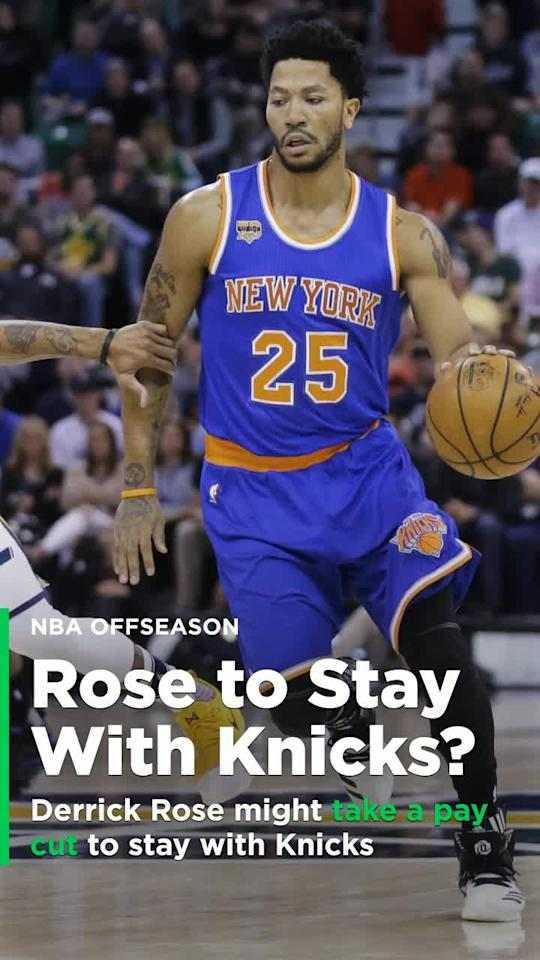 New York Knicks PG Derrick Rose says he may be willing to take a pay cut to remain with the team.