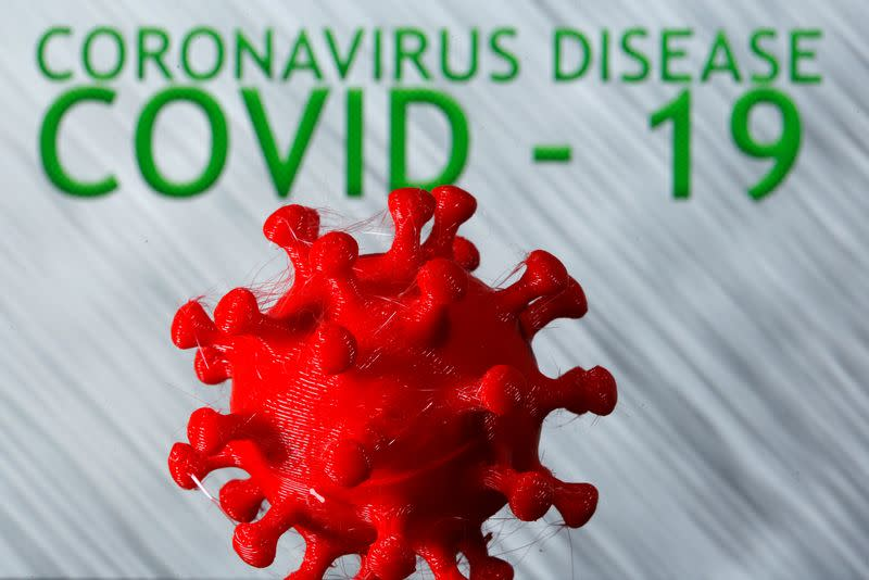 A 3D-printed coronavirus model is seen in front of the words coronavirus disease (Covid-19) on display in this illustration
