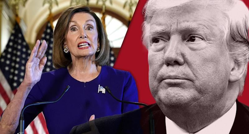 House Speaker Nancy Pelosi; President Trump. (Photo illustration: Yahoo News; photos: Kevin Lamarque/Reuters, AP)