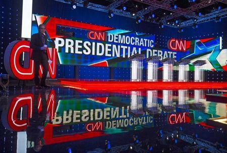 The stage is set for the first democratic presidential candidate debate to be held at the Wynn Hotel in Las Vegas, Nevada October 13, 2015. REUTERS/Mike Blake