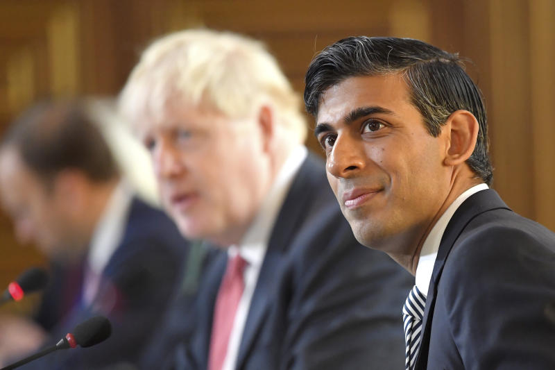 Britain's Chancellor of the Exchequer Rishi Sunak attends a Cabinet meeting of senior government ministers at the Foreign and Commonwealth Office FCO in London, Tuesday Sept. 1, 2020. (Toby Melville/Pool via AP)