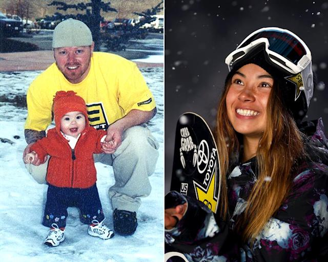<p><strong>THEN:</strong> Hailey Langland's dad helps with her first snow experience.<br><strong>NOW:</strong> The 17-year-old is a first-time Olympian.<br> (Photo via Instagram/haileylangland, Photo by Ezra Shaw/Getty Images) </p>