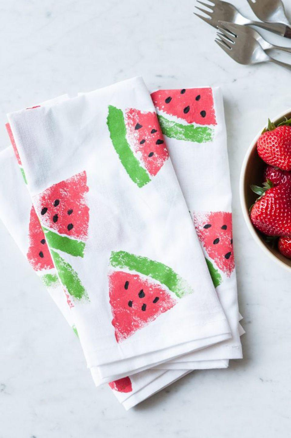 """<p>All it takes is a sponge and paint to make these pretty napkins you can use on Mother's Day.</p><p><strong>Get the tutorial at <a href=""""https://thesweetestoccasion.com/2015/07/diy-watermelon-print-napkins/"""" rel=""""nofollow noopener"""" target=""""_blank"""" data-ylk=""""slk:The Sweetest Occasion"""" class=""""link rapid-noclick-resp"""">The Sweetest Occasion</a>.</strong></p><p><strong>What you'll need: </strong><em>tea towels (</em><em><a href=""""https://www.amazon.com/Royal-12-Pack-Flour-Sack-Towels/dp/B074GPNG15"""" rel=""""nofollow noopener"""" target=""""_blank"""" data-ylk=""""slk:$18 for 12-pack, amazon.com"""" class=""""link rapid-noclick-resp"""">$18 for 12-pack, amazon.com</a>); sponge ($7 for 3-pack, <a href=""""https://www.amazon.com/Libman-Count-Anti-Bacterial-Sponge-Pack/dp/B00GWVCBG2"""" rel=""""nofollow noopener"""" target=""""_blank"""" data-ylk=""""slk:amazon.com"""" class=""""link rapid-noclick-resp"""">amazon.com</a>)</em></p>"""