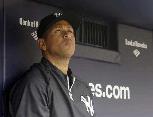 "FILE - In this April 13, 2013, file photo, New York Yankees' Alex Rodriguez sits in the dugout during a baseball game at Yankee Stadium in New York. Rodriguez sued Major League Baseball and Commissioner Bud Selig in a lawsuit, filed Thursday, Oct. 3, 2013, in New York State Supreme Court, accusing them of pursuing ""vigilante justice"" as part of a ""witch hunt"" designed to smear the character of the Yankees star and cost him tens of millions of dollars. (AP Photo/Kathy Willens, File)"