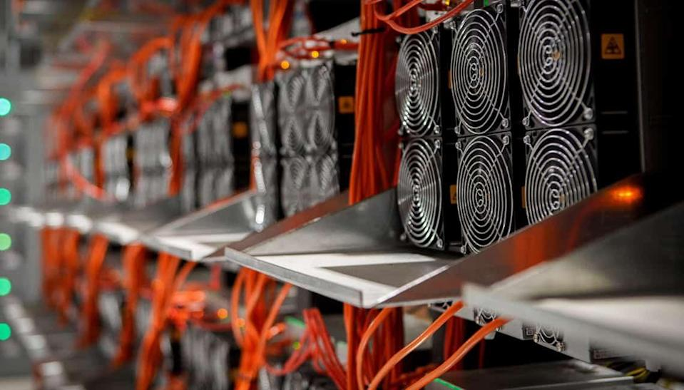 Hardware at Argo Blockchain's mining facility at Baie Comeau, Canada