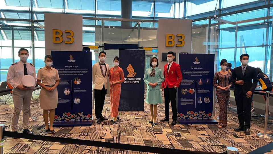 The crew dressed in the airline's traditional costumes. Photo: Coconuts