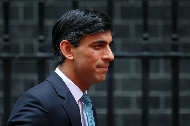 Britain's Chancellor of the Exchequer Sunak outside Downing Street, in London