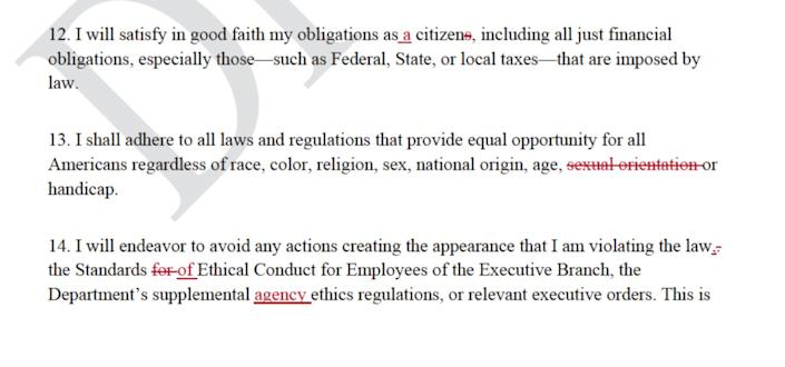 """A screenshot of the draft letter showing edits made by Interior staff. The final version David Bernhardt sent to employees can be found <a href=""""https://www.doi.gov/employees/day-one-employee-message"""" rel=""""nofollow noopener"""" target=""""_blank"""" data-ylk=""""slk:here"""" class=""""link rapid-noclick-resp"""">here</a>. (Photo: Friends of the Earth/FOIA)"""