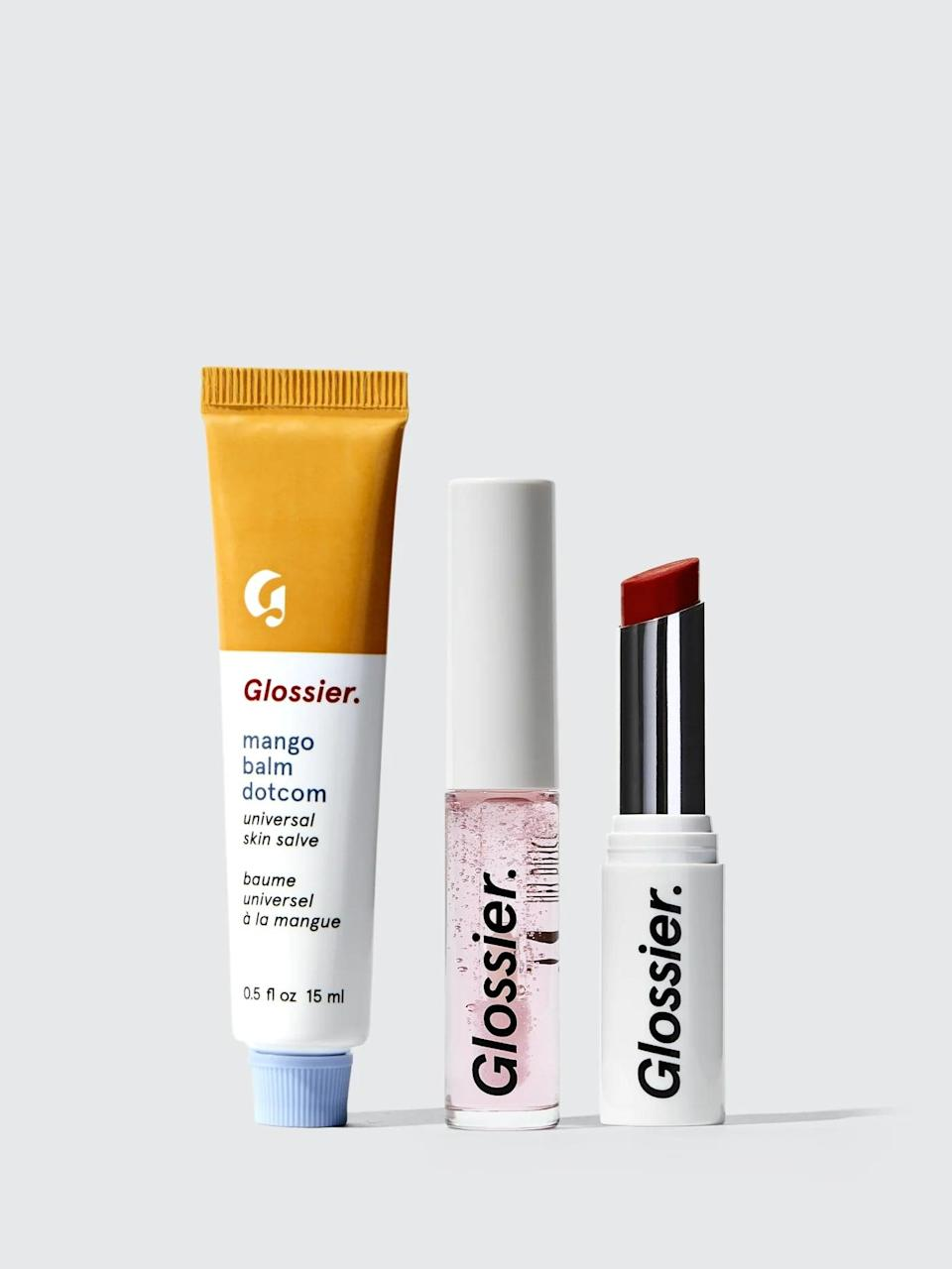 <p>Add to their beauty collection with this <span>Glossier The Core Lip Collection</span> ($35). </p>