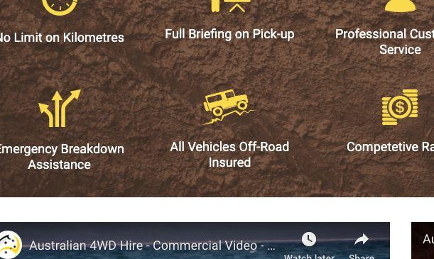 "Australian 4WD Hire website showing the ""all vehicles off-road insured"" claim. [Image: Yahoo Finance screenshot]"