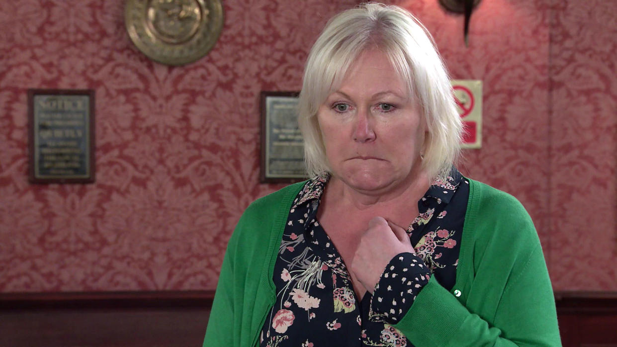 FROM ITV  STRICT EMBARGO - No Use Before Tuesday 6th July 2021  Coronation Street - Ep 10375  Monday 12th July 2021 - 2nd Ep  George Shuttleworth [TONY MUADSLEY] topples backwards, breaking his wrist and Eileen GrimshawÕs [SUE CLEAVER] left mortified.   Picture contact David.crook@itv.com   This photograph is (C) ITV Plc and can only be reproduced for editorial purposes directly in connection with the programme or event mentioned above, or ITV plc. Once made available by ITV plc Picture Desk, this photograph can be reproduced once only up until the transmission [TX] date and no reproduction fee will be charged. Any subsequent usage may incur a fee. This photograph must not be manipulated [excluding basic cropping] in a manner which alters the visual appearance of the person photographed deemed detrimental or inappropriate by ITV plc Picture Desk. This photograph must not be syndicated to any other company, publication or website, or permanently archived, without the express written permission of ITV Picture Desk. Full Terms and conditions are available on  www.itv.com/presscentre/itvpictures/terms