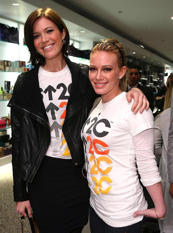 """Mandy Moore and Hilary Duff celebrated the launch of Kitson's collection of celebrity-designed holiday merchandise to benefit Stand Up To Cancer, a charitable organization founded by the Entertainment Industry Foundation (EIF). Alexandra Wyman/<a href=""""http://www.wireimage.com"""" target=""""new"""">WireImage.com</a> - December 10, 2008"""
