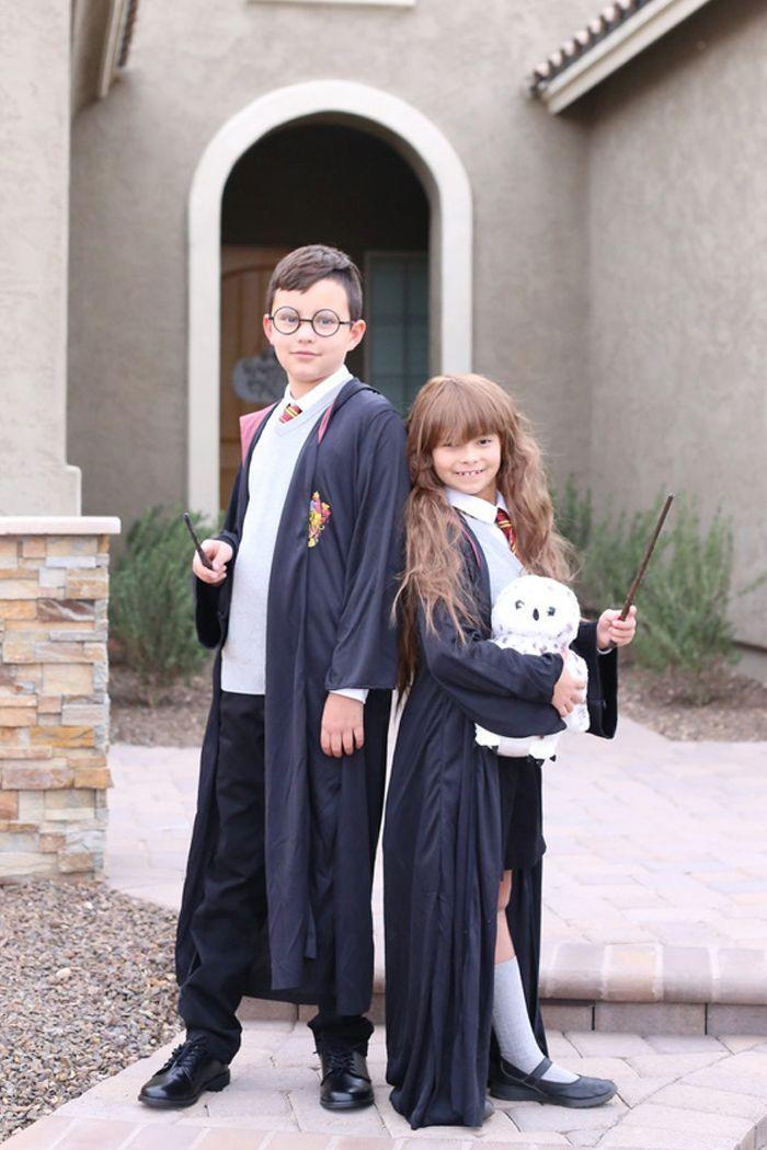 """<p>It's the ultimate last-minute literary costume: a duo of <em>Harry Potter</em> characters! Pair store-bought elements with DIY finds to create a similar look.</p><p><strong>Get the tutorial at <a href=""""https://seevanessacraft.com/2020/11/harry-potter-family-halloween-costumes/"""" rel=""""nofollow noopener"""" target=""""_blank"""" data-ylk=""""slk:See Vanessa Craft"""" class=""""link rapid-noclick-resp"""">See Vanessa Craft</a>.</strong></p><p><strong><a class=""""link rapid-noclick-resp"""" href=""""https://go.redirectingat.com?id=74968X1596630&url=https%3A%2F%2Fwww.walmart.com%2Fsearch%2F%3Fquery%3Dcostume%2Bwands&sref=https%3A%2F%2Fwww.thepioneerwoman.com%2Fholidays-celebrations%2Fg37014285%2Fbook-character-costumes%2F"""" rel=""""nofollow noopener"""" target=""""_blank"""" data-ylk=""""slk:SHOP COSTUME WANDS"""">SHOP COSTUME WANDS</a><br></strong></p>"""