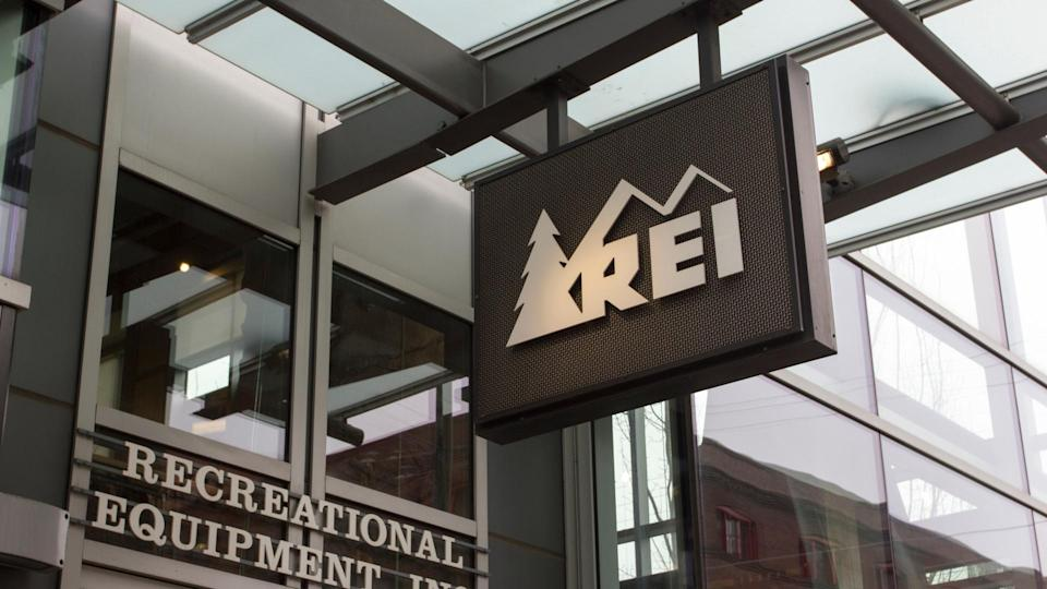 Portland, Oregon - Feb 8, 2019: The REI sign at the entrance of its store in Portland. Recreational Equipment, Inc. is an American retail and outdoor recreation services corporation.