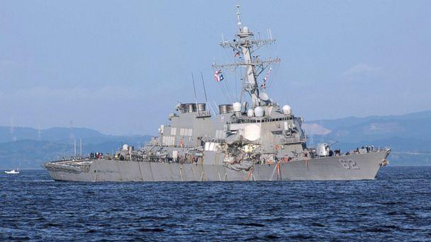 PHOTO: The damaged USS Fitzgerald is pictured near the U.S. Naval base in Yokosuka, southwest of Tokyo, in this June 17, 2017 file photo. (Eugene Hoshiko/AP, File)