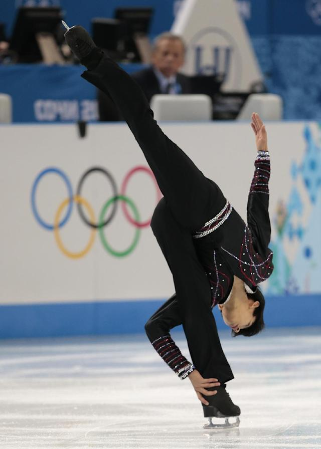 Michael Christian Martinez of the Philippines competes in the men's free skate figure skating final at the Iceberg Skating Palace during the 2014 Winter Olympics, Friday, Feb. 14, 2014, in Sochi, Russia. (AP Photo/Ivan Sekretarev)
