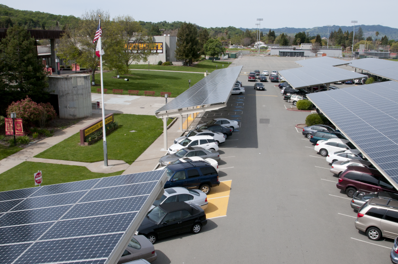Solar carport in a parking lot.