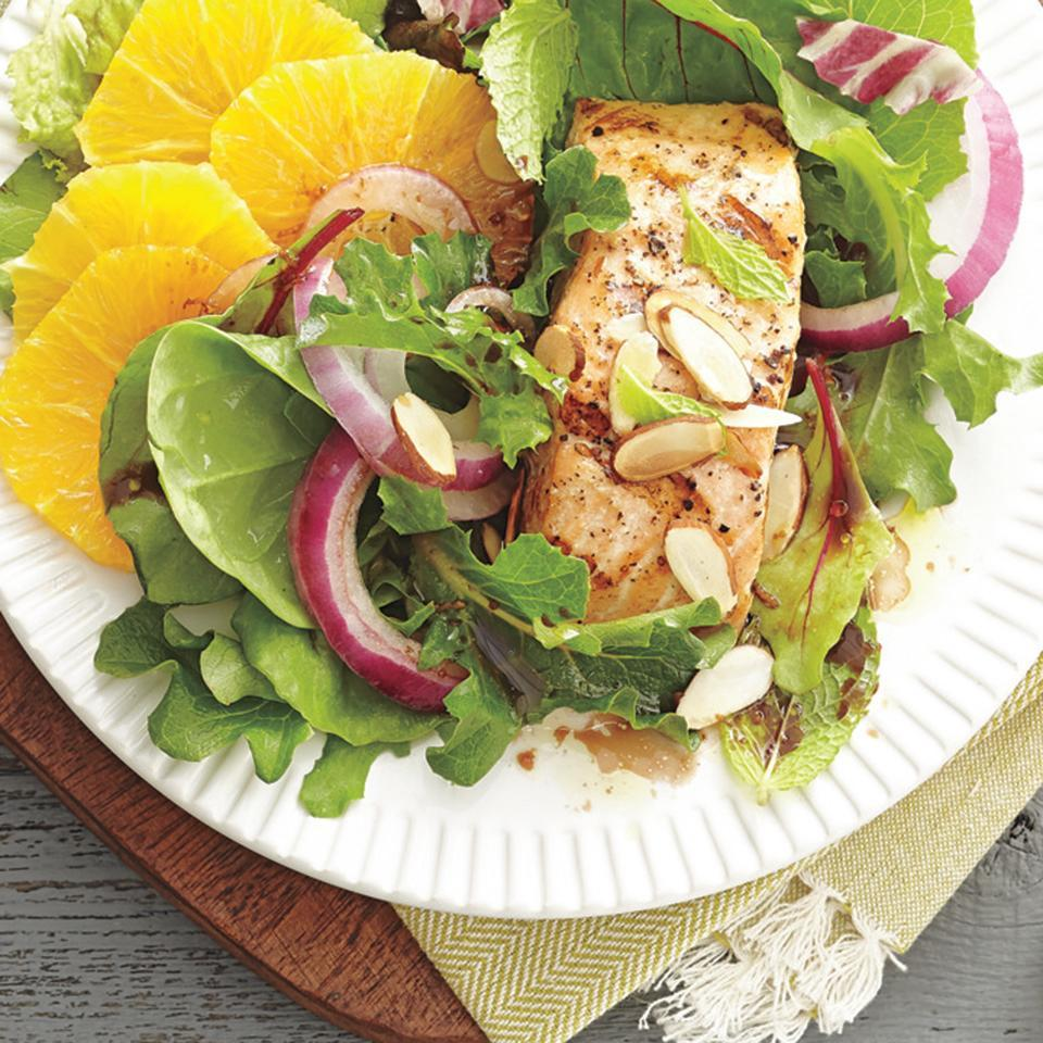 <p>Incorporating salmon into salads adds a good source of protein and heart healthy omega-3 fatty acids. This quick-and-easy salad is perfect for a lunch or dinner and is sure to leave you feeling full and satisfied.</p>