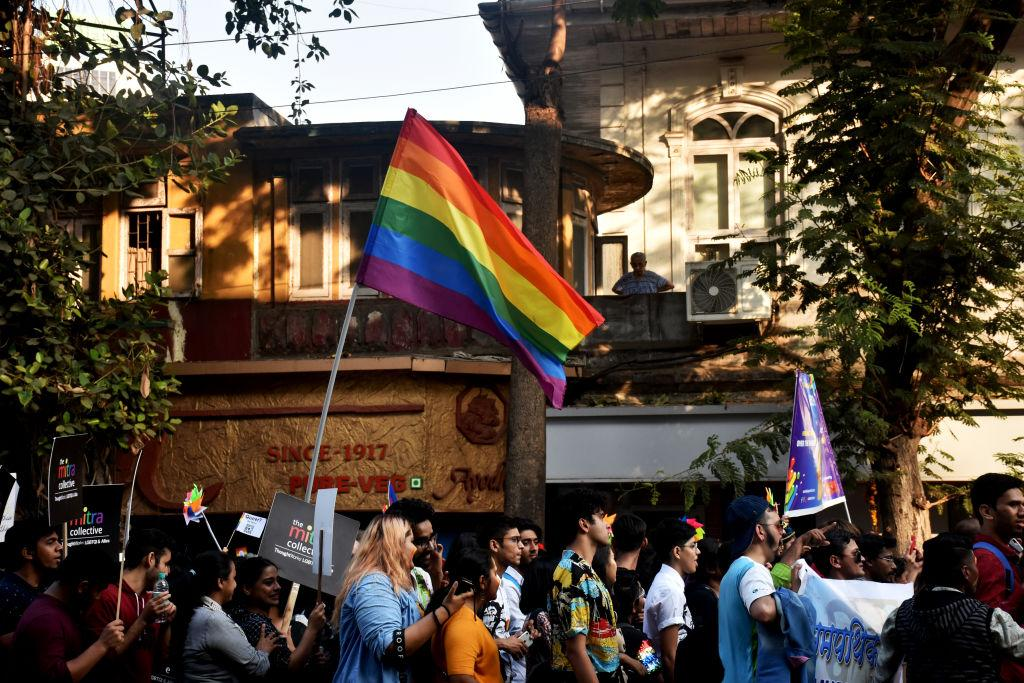 <p>An LGBT flag is seen during a gay pride event in Mumbai, India. Members and supporters of the LGBTQ community take part in Mumbai's Queer Azaadi Pride Parade. This was Mumbai's first ever Queer Pride March after a landmark judgment by the Supreme Court last year decriminalized homosexuality. (Photo from Azhar Khan/SOPA Images/LightRocket via Getty Images) </p>