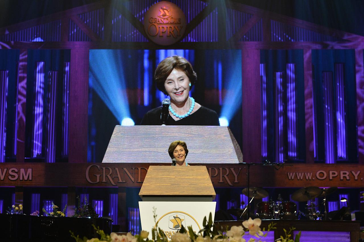NASHVILLE, TN - MAY 02:  (EXCLUSIVE COVERAGE) Former US First Lady Laura Bush speaks at the funeral service for George Jones at The Grand Ole Opry on May 2, 2013 in Nashville, Tennessee. Jones passed away on April 26, 2013 at the age of 81.  (Photo by Rick Diamond/Getty Images for GJ Memorial)