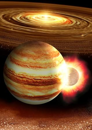 Planet 10 times Earth's mass may have smacked Jupiter long ago