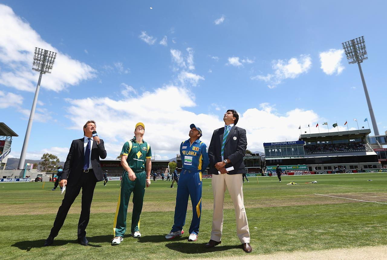 HOBART, AUSTRALIA - JANUARY 23: Australian captain George Bailey tosses the coin prior to game five of the Commonwealth Bank One Day International Series between Australia and Sri Lanka at Blundstone Arena on January 23, 2013 in Hobart, Australia.  (Photo by Robert Cianflone/Getty Images)