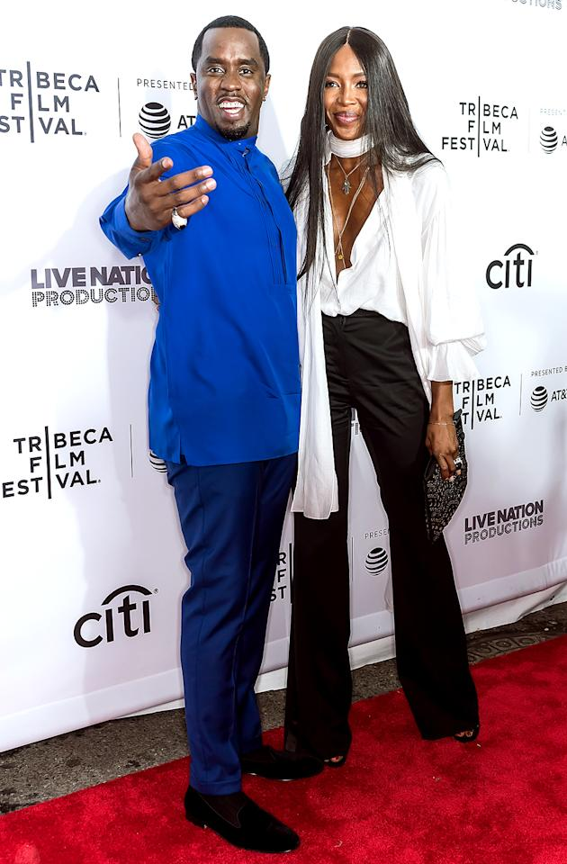 <p>A red carpet calls for a supermodel, no? The Bad Boy Records founder and rapper posed with Campbell at the Tribeca Film Festival premiere of his documentary about the record label, <em>Can't Stop, Won't Stop: The Bad Boy Story</em>. (Photo: Gilbert Carrasquillo/FilmMagic) </p>