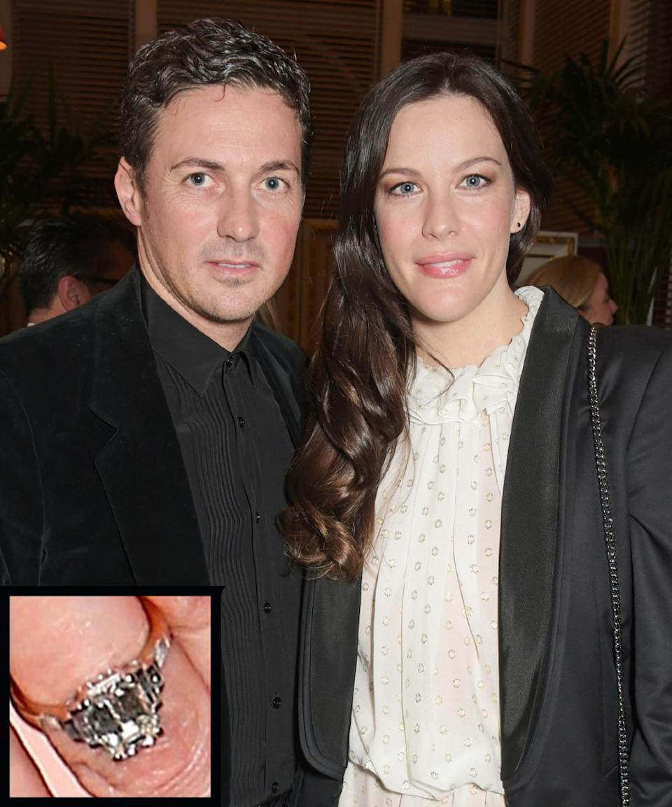 """<p>Liv Tyler and sports agent Dave Gardner were <a rel=""""nofollow noopener"""" href=""""http://www.instyle.com/news/liv-tyler-secret-engaged-David-gardner"""" target=""""_blank"""" data-ylk=""""slk:engaged for around a year"""" class=""""link rapid-noclick-resp"""">engaged for around a year</a> before they shared photos of her stunning ring in 2015.</p>"""