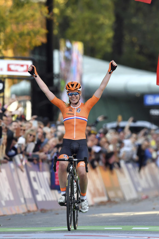 Anna van der Breggen from the Netherlands crosses the finish line to win the women's road race at the Road Cycling World Championships in Innsbruck, Austria, Saturday, Sept.29, 2018. (AP Photo/Kerstin Joensson)