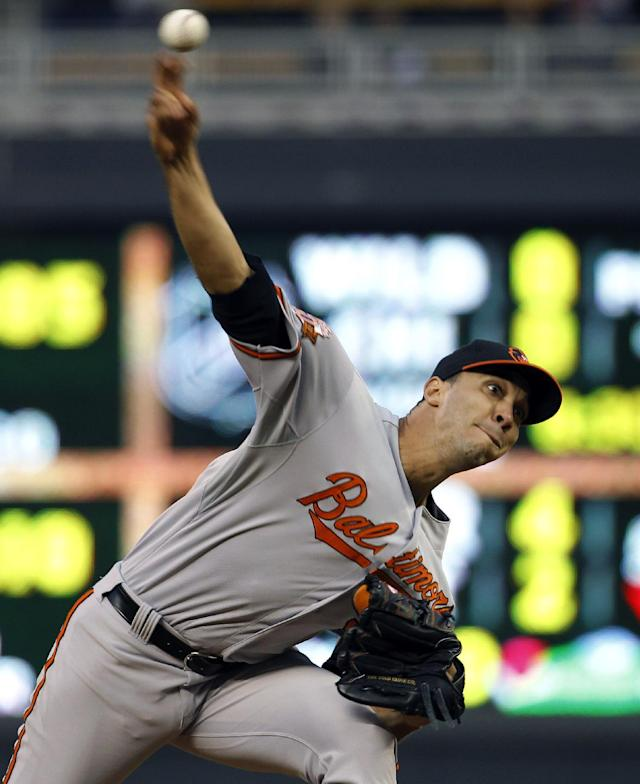 Baltimore Orioles starting pitcher Ubaldo Jimenez delivers to the Minnesota Twins during the third inning of a baseball game in Minneapolis, Friday, May 2, 2014. (AP Photo/Ann Heisenfelt)