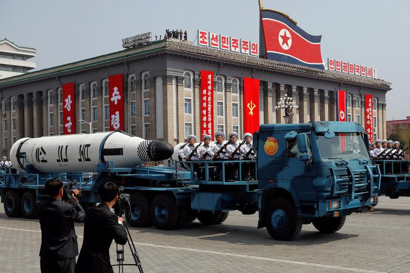 FILE PHOTO: A North Korean navy truck carries the 'Pukkuksong' submarine-launched ballistic missile (SLBM) during a military parade marking the 105th birth anniversary of country's founding father, Kim Il Sung in Pyongyang, April 15, 2017.</p><p>REUTERS/Damir Sagolj/File Photo