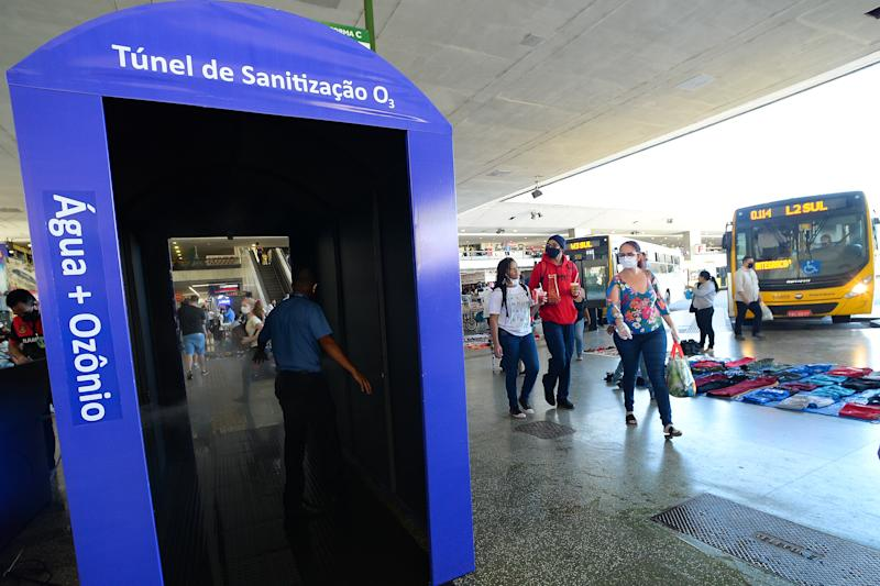 BRASILIA, BRAZIL - JUNE 01: Plano Piloto Bus Station with ozone sanitization tunnel to fight the coronavirus (COVID-19) pandemic at the Plano Piloto Bus Station on June 01, 2020 in Brasilia, Brazil. Brazil has over 526,000 confirmed positive cases of Coronavirus and 29,937 deaths. (Photo by Andressa Anholete/Getty Images)