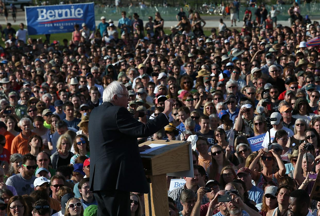 Sen. Bernie Sanders delivers remarks while officially announcing his candidacy for the U.S. on May 26, 2015 in Burlington, Vermont.