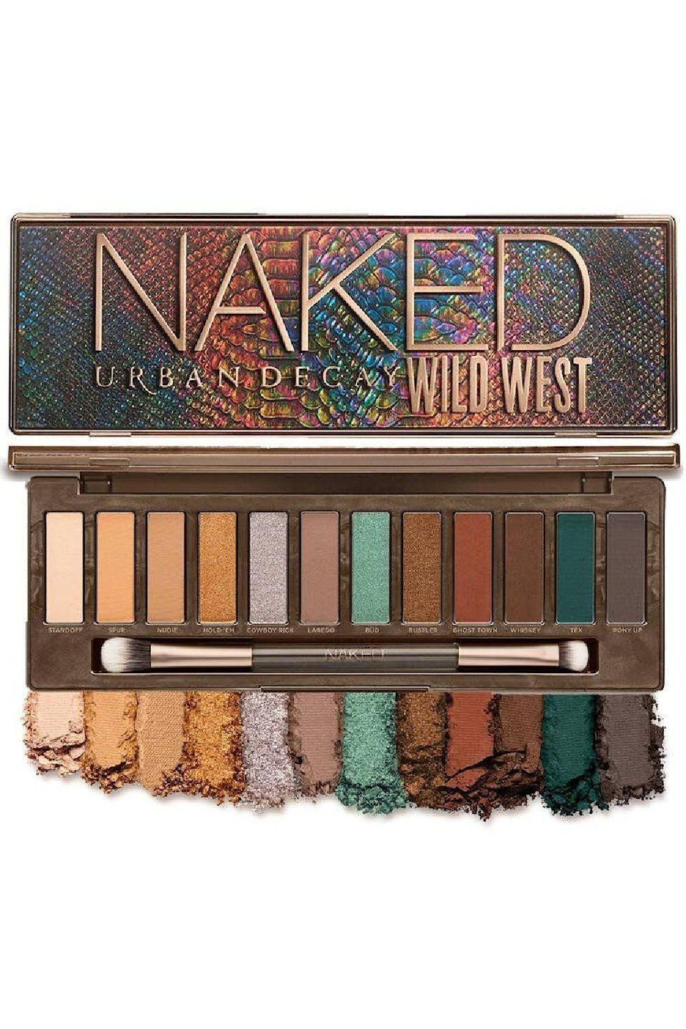 """<p>urbandecay.com</p><p><strong>$49.00</strong></p><p><a href=""""https://go.redirectingat.com?id=74968X1596630&url=https%3A%2F%2Fwww.urbandecay.com%2Furban-decay-cosmetics%2Fnaked-wild-west-eyeshadow-palette%2Fud1054.html&sref=https%3A%2F%2Fwww.cosmopolitan.com%2Fstyle-beauty%2Fbeauty%2Fg36596599%2Fbest-eyeshadow-palettes%2F"""" rel=""""nofollow noopener"""" target=""""_blank"""" data-ylk=""""slk:Shop Now"""" class=""""link rapid-noclick-resp"""">Shop Now</a></p><p>Although you'll still find some cooler shades on the right end of this palette, this assortment of desert-inspired colors, like turquoise, terracotta, and copper, is a warm-toned dreamland. You'll find all the matte, metallic, and shimmer finishes you know and love from the brand, along with<strong> easy-to-wear transition shades</strong><strong> that make the iconic Naked palettes famous.</strong> Although any eye color can wear any eye makeup, these <a href=""""https://www.cosmopolitan.com/style-beauty/beauty/g30717185/best-eyeshadow-for-blue-eyes/"""" rel=""""nofollow noopener"""" target=""""_blank"""" data-ylk=""""slk:eyeshadows on blue eyes"""" class=""""link rapid-noclick-resp"""">eyeshadows on blue eyes</a> would look particularly amazing, IMO.</p>"""