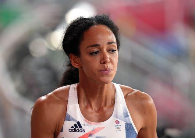 Great Britain's Katarina Johnson-Thompson was distraught after the race