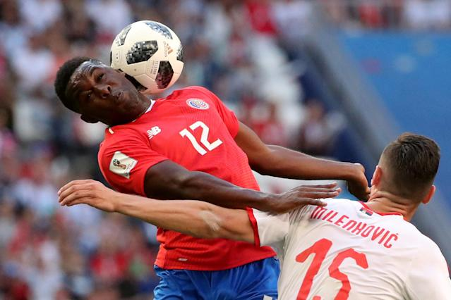 Soccer Football - World Cup - Group E - Costa Rica vs Serbia - Samara Arena, Samara, Russia - June 17, 2018 Costa Rica's Joel Campbell in action with Serbia's Nikola Milenkovic REUTERS/Pilar Olivares TPX IMAGES OF THE DAY