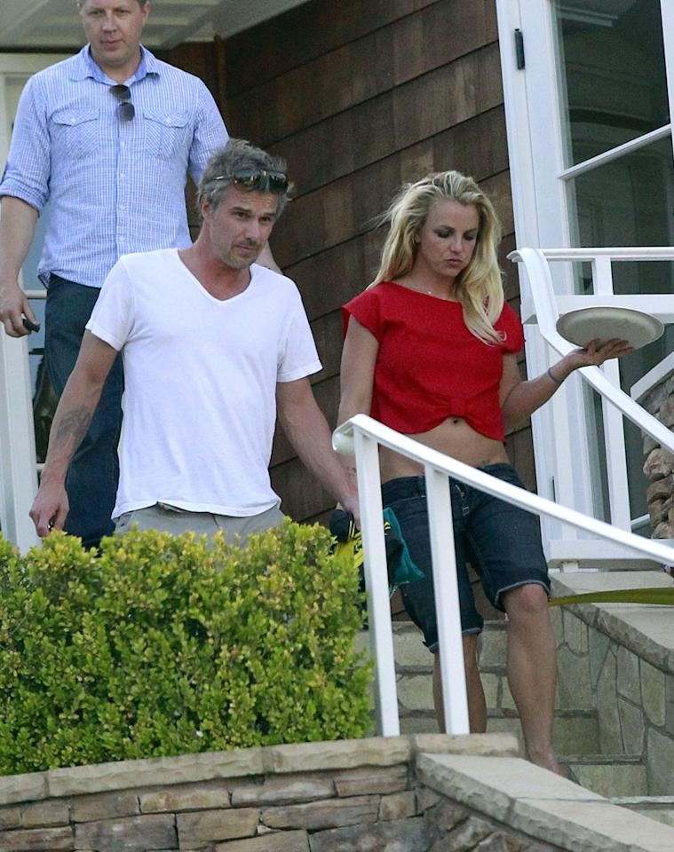Britney Spears celebrated Cinco de Mayo with friends and family -- including fiance Jason Trawick -- at a house party in Brentwood, California, on Saturday. The 30-year-old singer sported a red belly-baring top and casual denim cutoffs for the festive occasion, which commemorates the Mexican army's 1862 victory over France at the Battle of Puebla during the Franco-Mexican War. In U.S. cities with large Mexican populations (such as Los Angeles), it also serves as a celebration of Mexican heritage and pride. (5/5/2012)