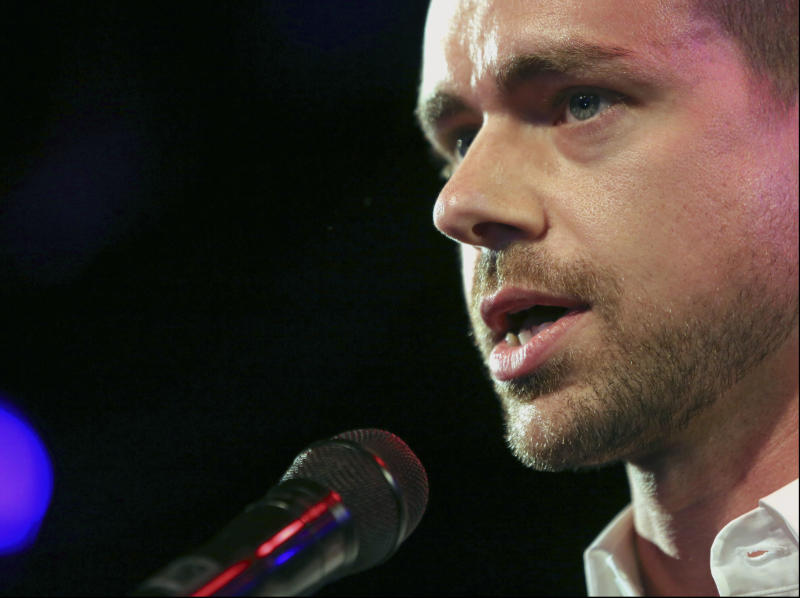 FILE - In this Wednesday, April 24, 2013, file photo, Twitter co-founder Jack Dorsey speaks at a campaign fundraiser, in New York. Twitter is taking the smartphone shackles off its live-video service Periscope as part of the struggling company's attempt to broaden its audience. The Periscope Producer feature announced Thursday, Oct. 13, 2016, will allow media companies and other users to pipe live video feeds directly into Twitter, without using a smartphone to record the images. The Periscope extension ups the ante on Twitter CEO Jack Dorsey's bet that the increasing popularity of online video will help widen the short-messaging service's appeal. (AP Photo/Mary Altaffer, File)
