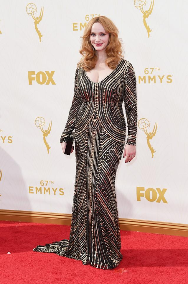 Christina Hendricks in Naeem Khan.